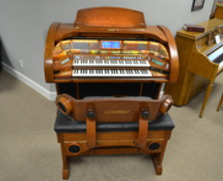 Lowrey Imperial organ, warm oak cabinet