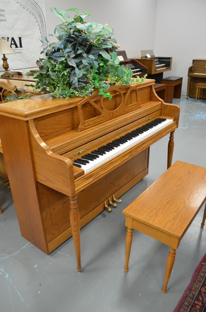 1992 Story & Clark oak console piano (sorry, no plant) - Upright - Console Pianos